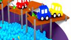 Çizgi Film - 3 D Animasyon - Dört araba  Top Havuzunda Olta ile Balık Tutuyorlar