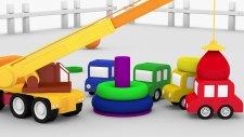 Çizgi Film - 3 D Animasyon - Dört araba ve vinç renkli piramit yapıyor
