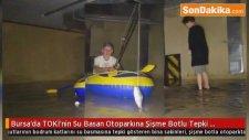Bursa'da TOKİ'nin Su Basan Otoparkına Şişme Botlu Tepki Gösterdiler