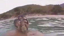 Su Altında Ahtapot Yüzüne Böyle Yapıştı