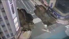 Japonya'da 5 Şeritli Yolun Çökme Anı