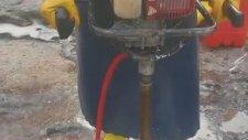 İnka El Tipi Sondaj Karot Makinesi İle Mermer (Bej) Zeminde El -Sondaj- Karot Uygulaması