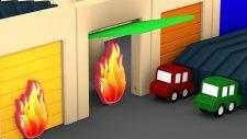 Çizgi Film dizisi - Dört araba yangın söndürüyor.