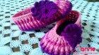 Örgü Renkli Kız Patiği Süslemesi Yapılışı (Çiçek Motifi)