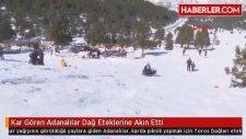 Kar Gören Adanalılar Dağ Eteklerine Akın Etti
