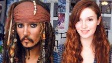 Makyajla Kendini Jack Sparrow'a Çeviren Kadın