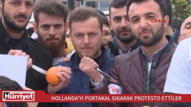 Hollandayı Portakal Sıkarak Protesto Etmek Video Alkışlarla