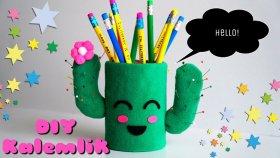 DIY Kaktüs Kalemlik / Cactus Desktop Pencil Holder