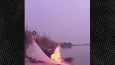 Düğün Fotoğrafı İçin Cayır Cayır Yanan Gelin