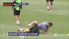 Ronaldo ile Coentrao idmanda birbirine girdi!