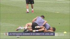 Cristiano Ronaldo ve Coentrao'nun Antremanda Güreşmesi