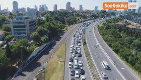 15 Temmuz Şehitler Köprüsü'nde Trafik Yoğunluğu Havadan Görüntülendi