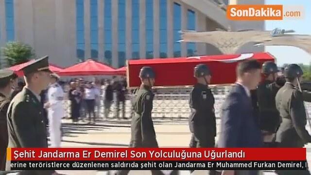 Şehit Jandarma Er Demirel Son Yolculuğuna Uğurlandı