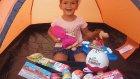 Kamp çadırında maşa kocaayı ve elif sürpriz yumurtalar açıyor, eğlenceli çocuk videosu