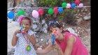 Balon vurmaca challenge yaptık.Balonları ipe dizdik vurmaya çalıştık .Çok eğlendik. Çocuk videosu