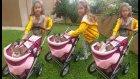 Elif paticiği bebek arabası ile gezdiriyor, eğlenceli çocuk videosu