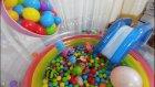 top havuzunda kaydırak ve oyunlar, eğlenceli çocuk videosu