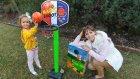 Parkta basketbol potası oyuncak kutusu açtık, eğlenceli çocuk videosu,toys unboxing