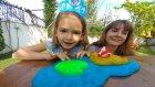 Bahçede Mavi Slime yaptık, hazır slime ile kıyasladık, eğlenceli çocuk videosu