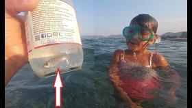 Denizde basit yöntemle balık tuttuk, eğlenceli çocuk videosu, sualtı görüntüleri