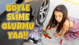 Araba Tekerleğinin Altında Slime Olurmu ?? | İlginç Slime Deneyi