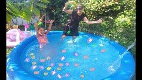 Mavi Havuzda Balık Tutma Challange / Yarışması Yaptık.lera Elif Kim Kazandı, Eğlenceli Çocuk Videosu
