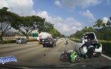 Önünü Görmeden Dalan Motosikletlinin Sonu
